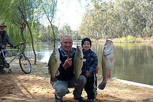 Enjoy a spot of Fishing on the Murray river, at Picnic Point Caravan Park